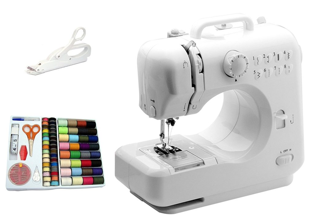 Michley-Tivax Lil' Sew & Sew LSS-505 Combo Mini Sewing Machine, Electrical Scissors and 100-Piece Sewing Kit
