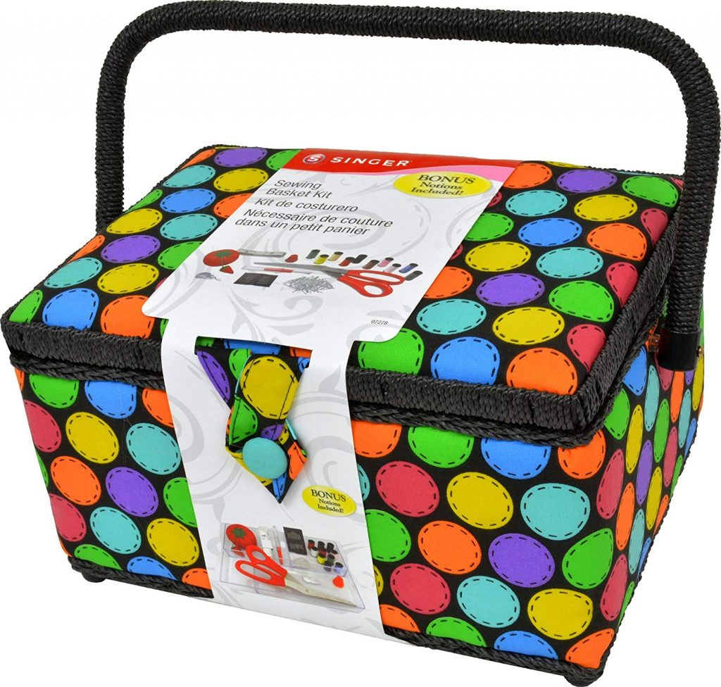 Singer 07278 Multi Bright Dots Large Sewing Basket
