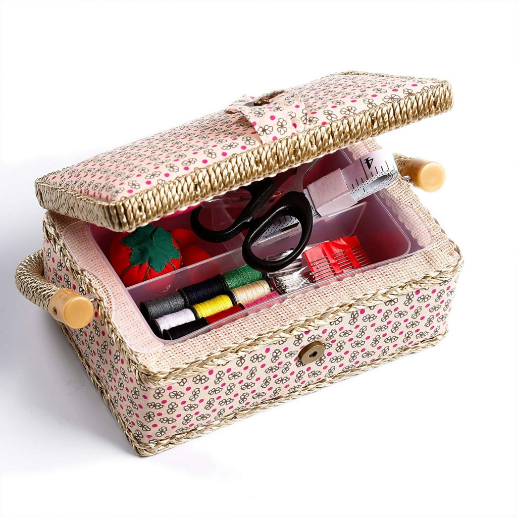 bbloop Small Vintage Sewing Basket with Notions Package